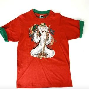 Santa Claus Vtg 90s Red T-Shirt Roll-Up Sleeves